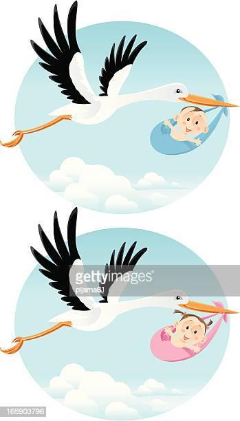 ilustraciones, imágenes clip art, dibujos animados e iconos de stock de cigüeña - baby blanket