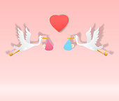 stork With Baby Girl and boy cute art paper art vector paper cut illustration