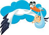 Stork with Baby Invitation Card Vector Cartoon