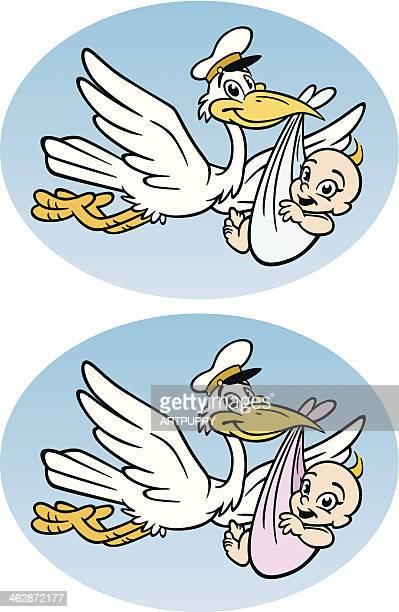 ilustrações de stock, clip art, desenhos animados e ícones de cegonha com bebê - bebe chegando