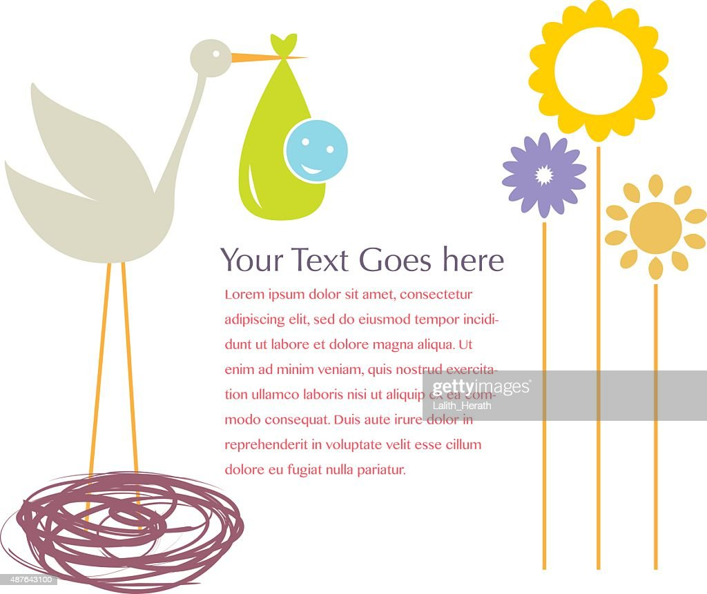 Stork With Baby With Gradient Mesh, Vector Illustration