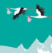 Storks delivering boy and girl babies