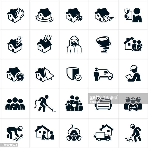 storm and disaster cleanup icons - asbestos stock illustrations, clip art, cartoons, & icons