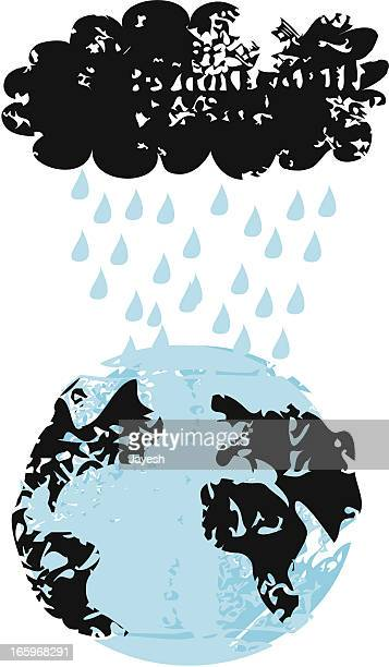 storm cloud over earth - monsoon stock illustrations, clip art, cartoons, & icons