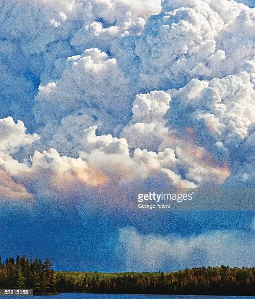 ilustraciones, imágenes clip art, dibujos animados e iconos de stock de nubes de tormenta - incendio forestal