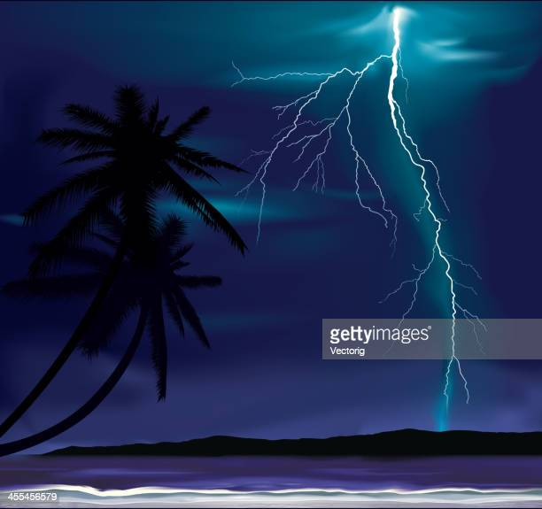 storm on a beach - overcast stock illustrations, clip art, cartoons, & icons
