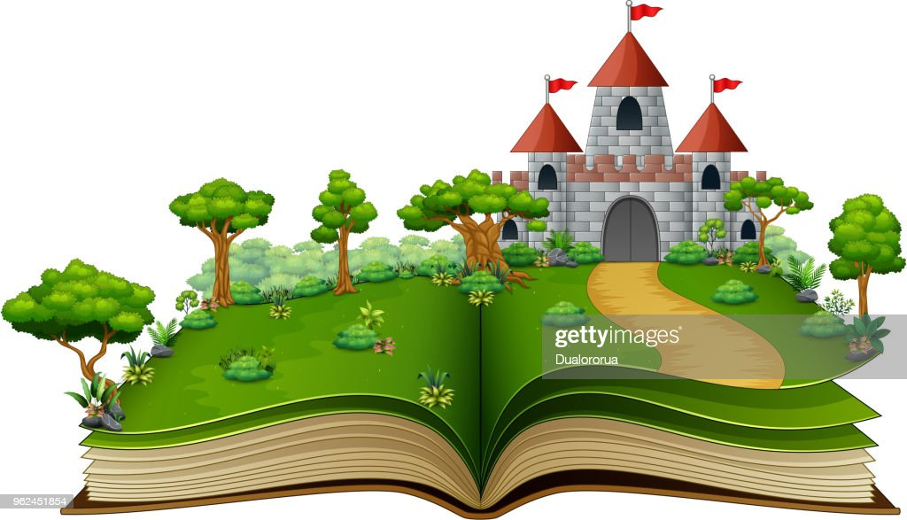 Story book with a castle in the green park