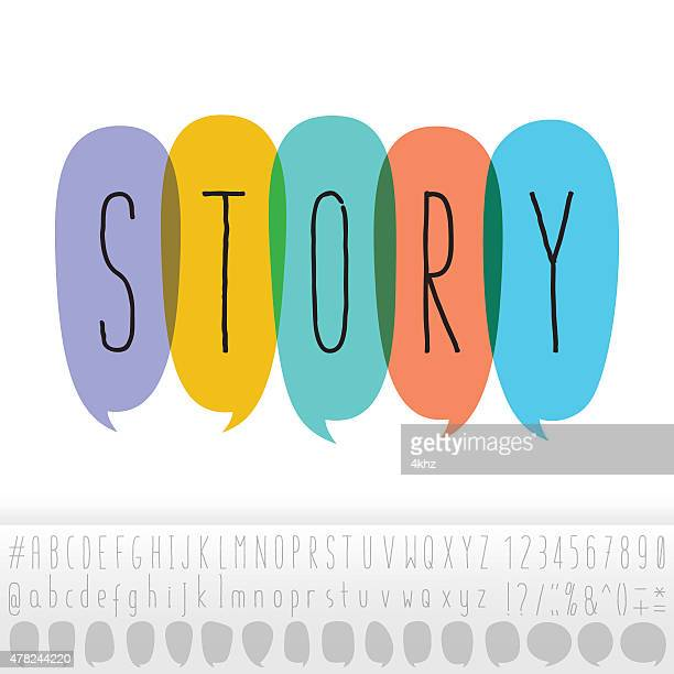 story text in speech bubbles with alphabet design set - storytelling stock illustrations