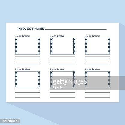 Storyboard Template On Blue Vector Art  Getty Images