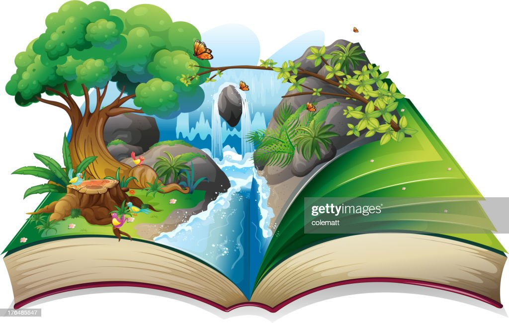 Storybook with an image of nature