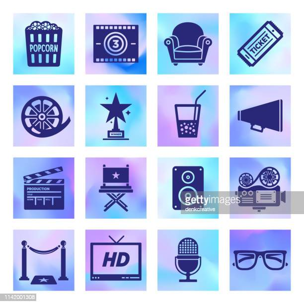 storytelling & cinematography holographic style vector icon set - webcam media apparaat stock illustrations