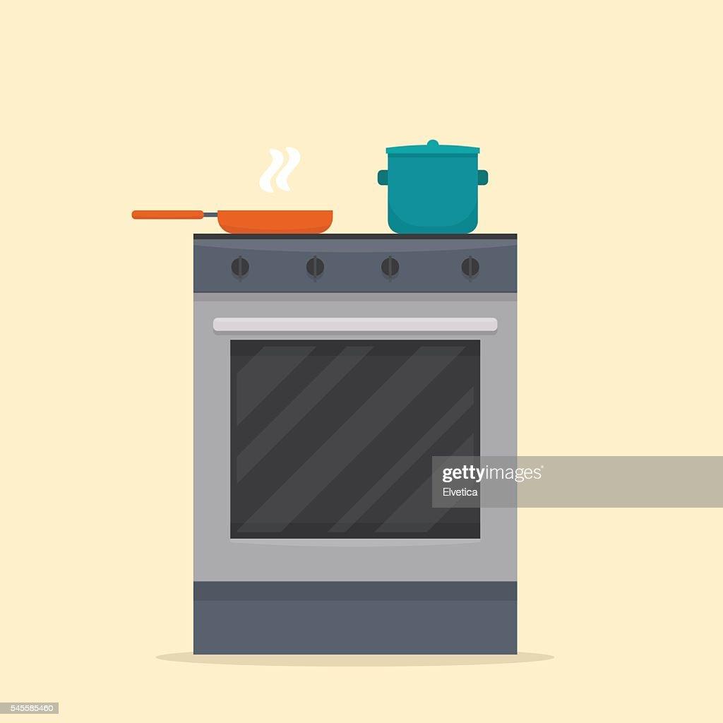 Stove in kitchen.