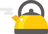 Stovetop whistling kettle kitchen teapot flat vector