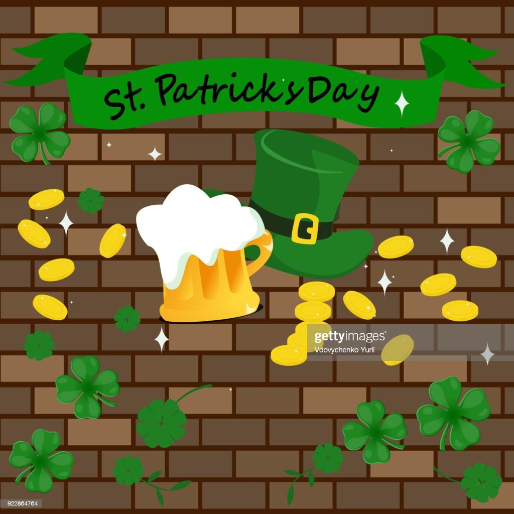 St.Patrick with gold coins, a green hat and a glass of beer. Against the background of a brick wall