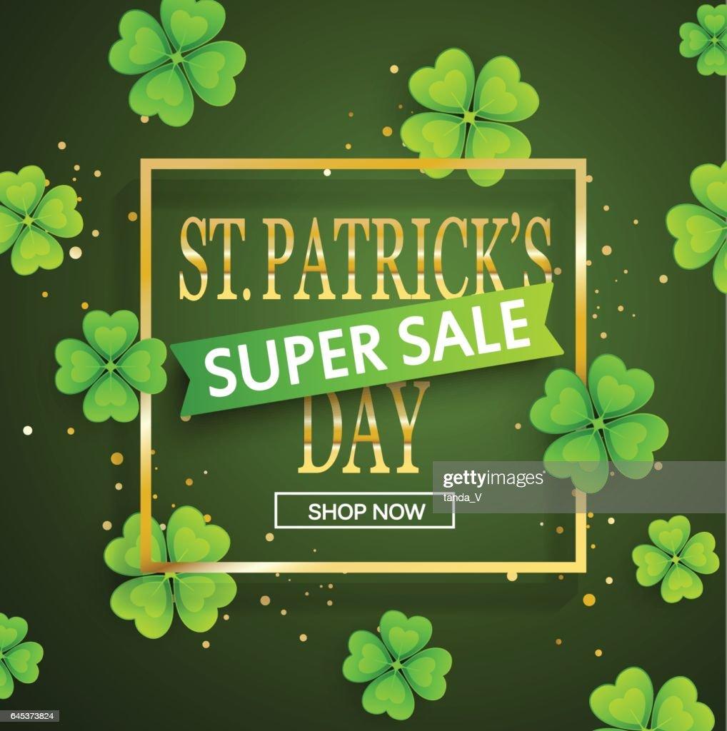 St.Patrick's day super sale background.