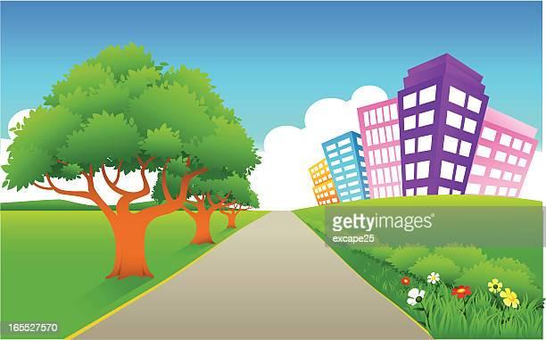Straight pathway to city