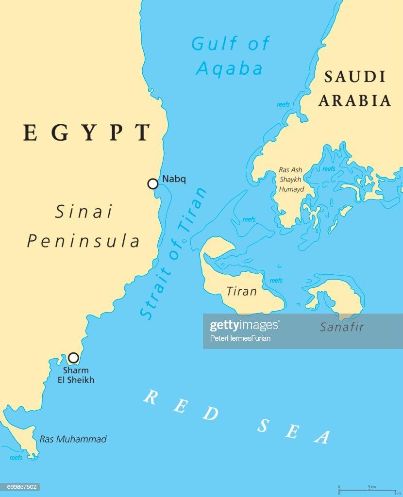 Strait of Tiran political map
