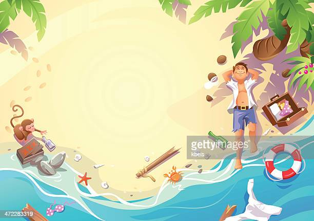 stranded in paradise - beach holiday stock illustrations, clip art, cartoons, & icons