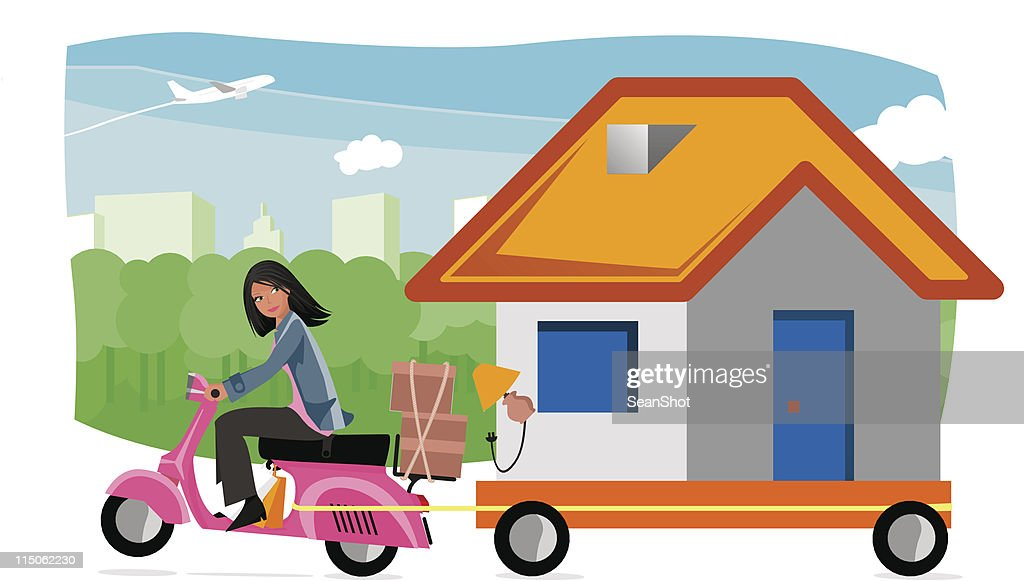 Strange house moving : stock illustration