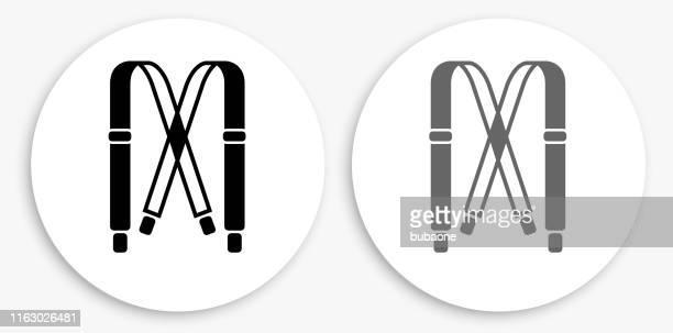 straps black and white round icon - strap stock illustrations