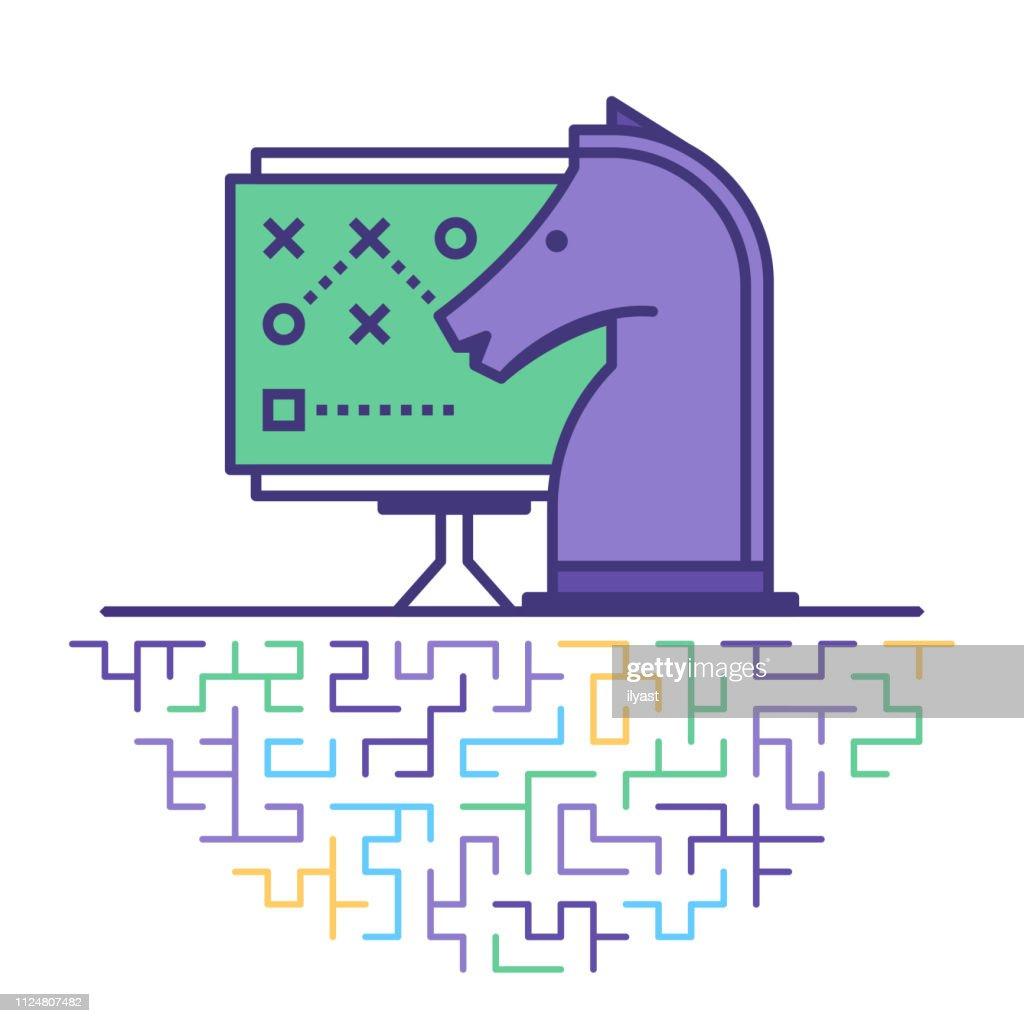 Gestión estratégica línea plana icono ilustración : Ilustración de stock
