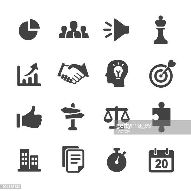 strategy and business icons set - acme series - balance stock illustrations