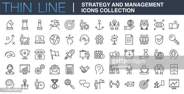 illustrazioni stock, clip art, cartoni animati e icone di tendenza di raccolta icone strategia e gestione - strategia
