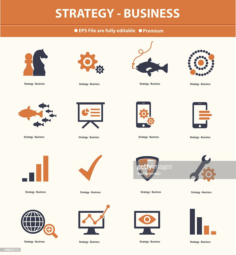 Strategy & Business concept icons,Orange version,vector