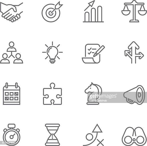 strategy business success management line icons | eps10 - slim stock illustrations, clip art, cartoons, & icons