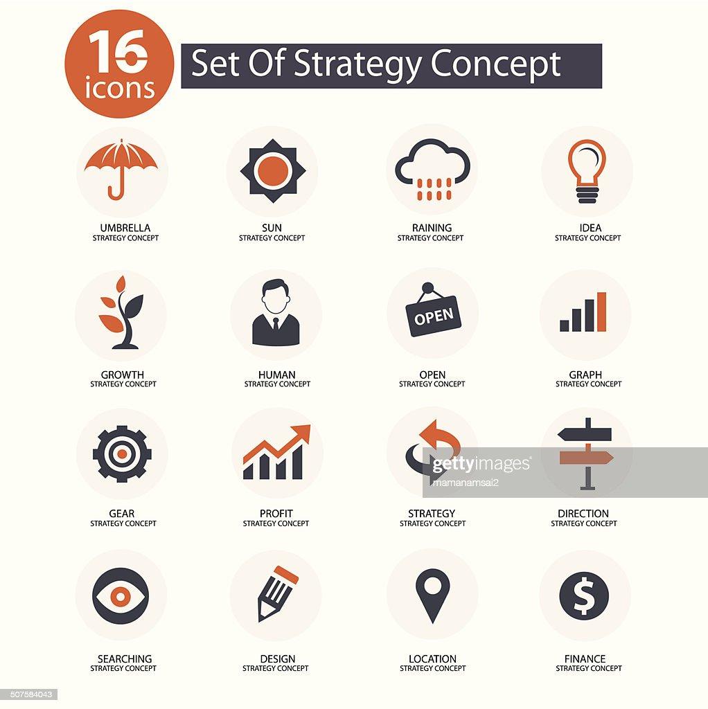 Strategy Concept icons,vector,Orange version