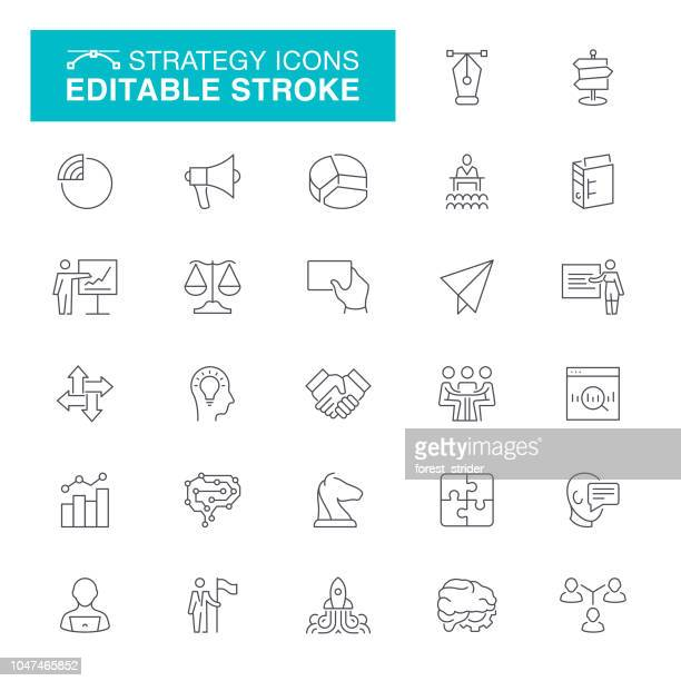 strategy editable stroke icons - strategy stock illustrations, clip art, cartoons, & icons