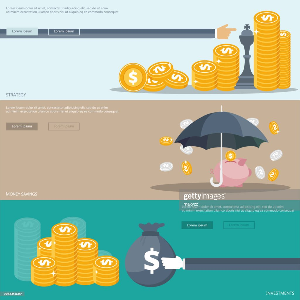 Strategy, investments and money savings banners for websites and mobile applications. Flat vector illustration
