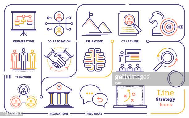 strategy line icon set - business strategy stock illustrations
