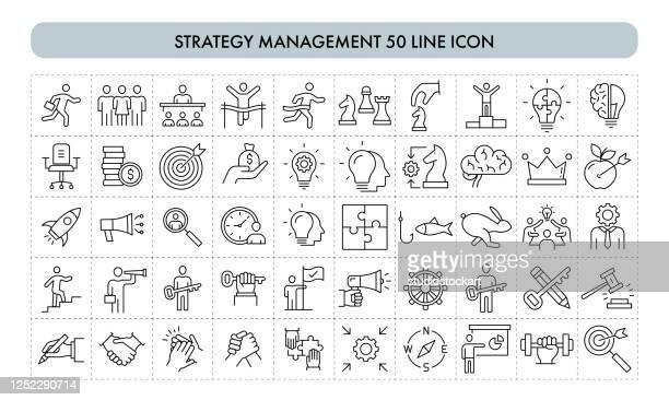 stockillustraties, clipart, cartoons en iconen met pictogram strategiebeheer 50-lijn - strategie