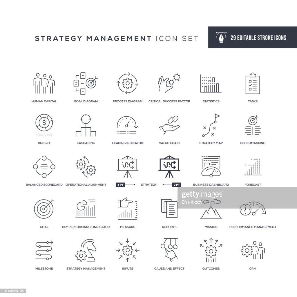 Strategy Management Editable Stroke Line Icons : Stock Illustration
