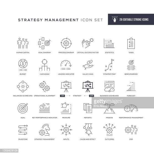 strategy management editable stroke line icons - business strategy stock illustrations