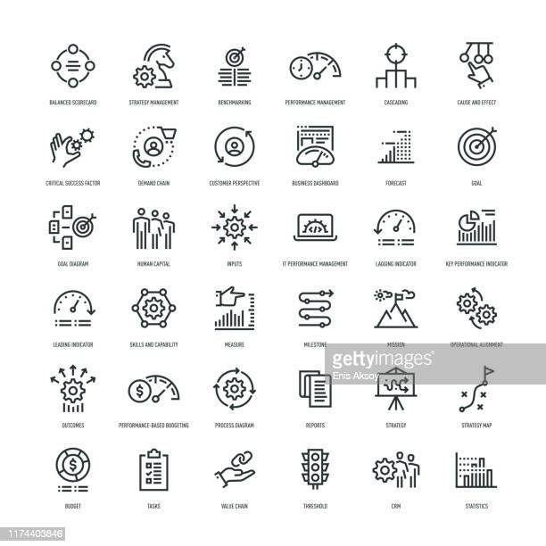 stockillustraties, clipart, cartoons en iconen met pictogram set voor strategie beheer - effectiviteit