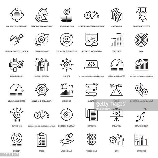 strategy management icon set - business strategy stock illustrations
