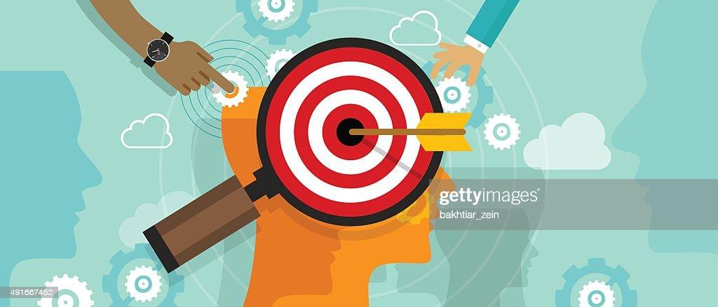 strategy target positioning in consumer customer mind marketing market concept : Stock Illustration
