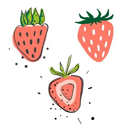 Strawberries pencil drawings - gettyimageskorea