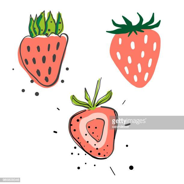 strawberries pencil drawings - pencil drawing stock illustrations