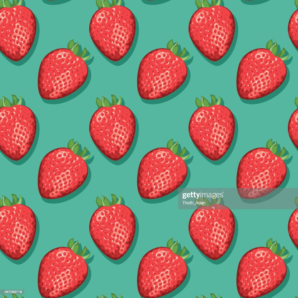 Strawberries (Seamless pattern pop art style)