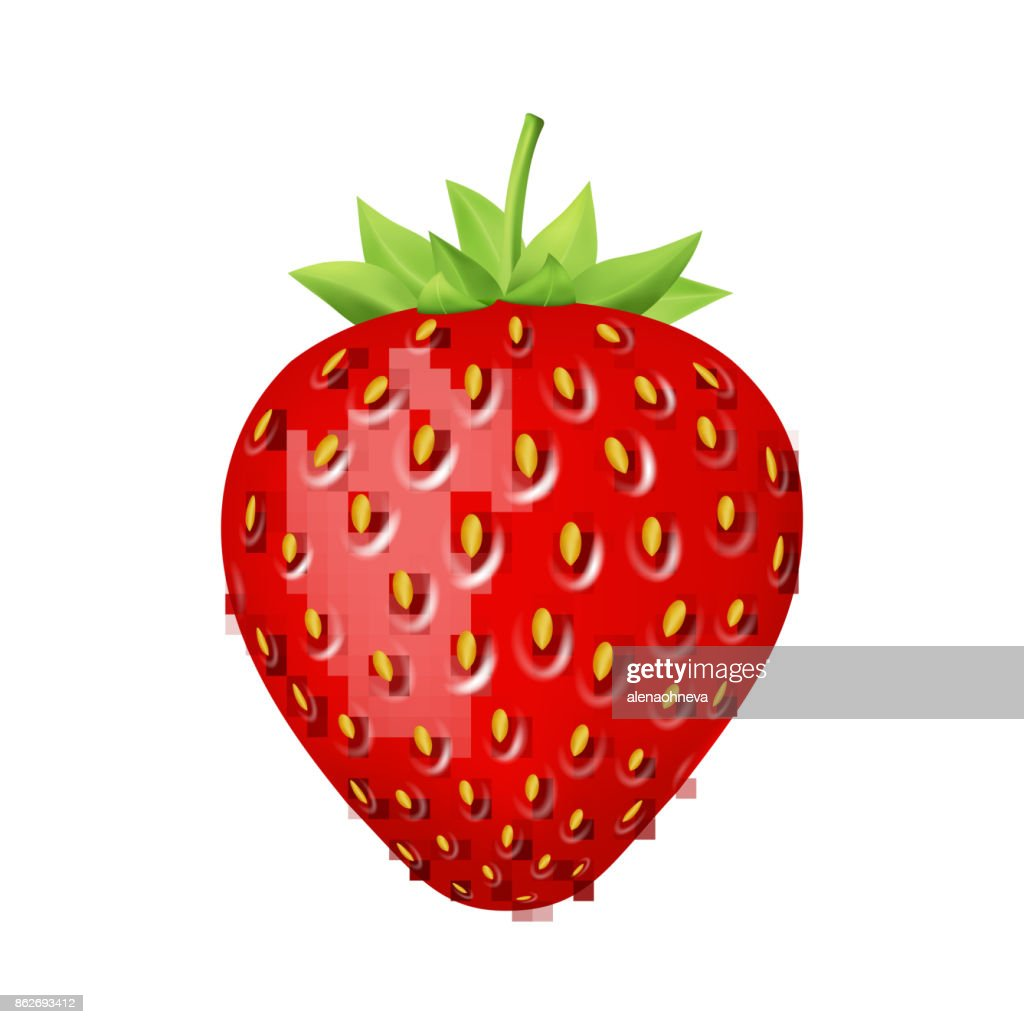 Strawberry 3d vector icon.