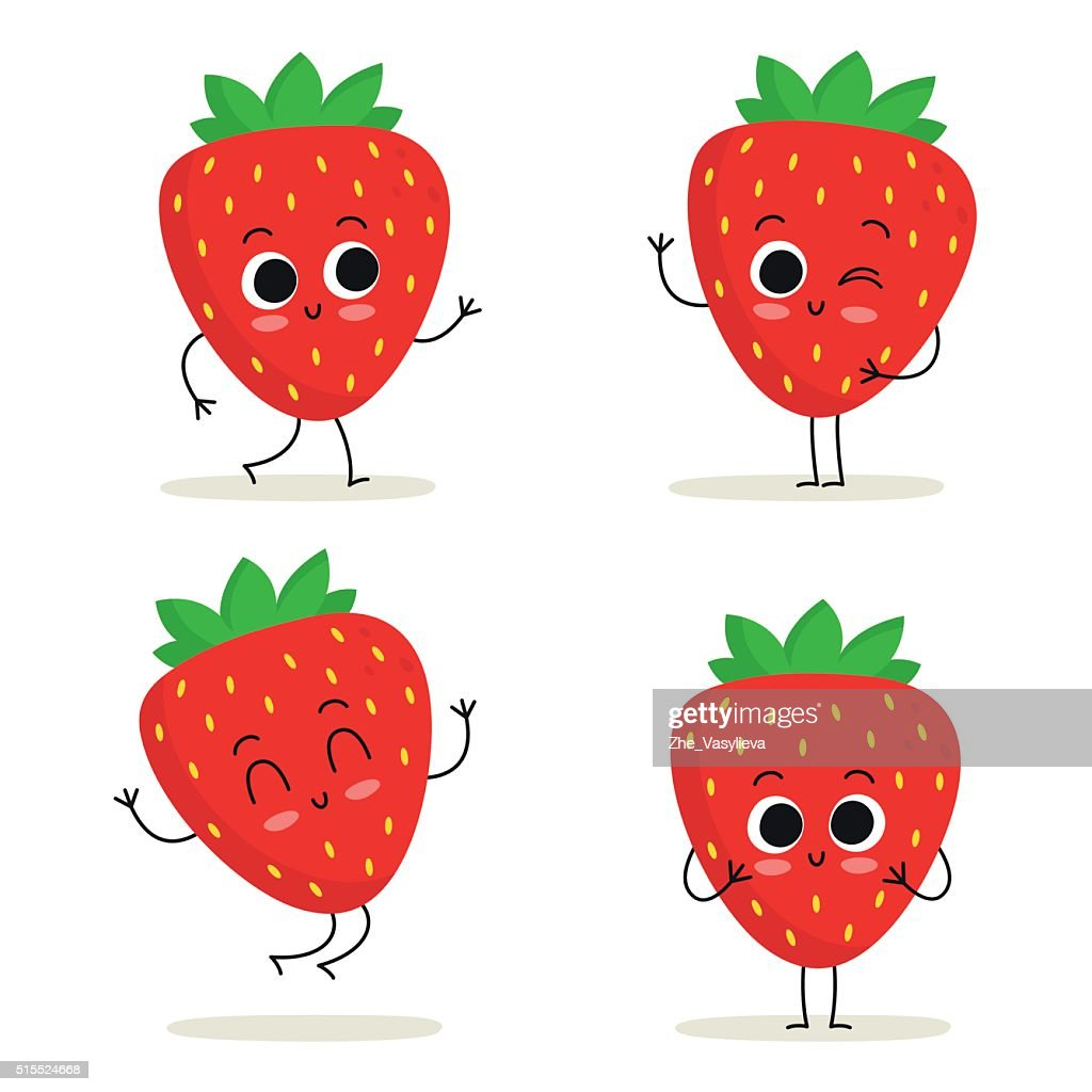 Strawberry. Cute fruit character set isolated on white