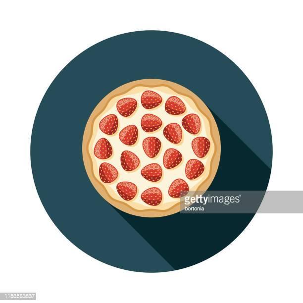 ストロベリーデザートピザアイコン - ケーキ点のイラスト素材/クリップアート素材/マンガ素材/アイコン素材
