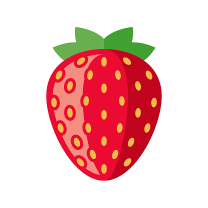 Strawberry Flat Design Fruit Icon - gettyimageskorea