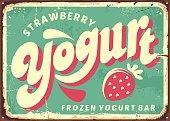 Strawberry frozen yogurt retro sign board design