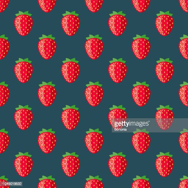 strawberry fruit seamless pattern - antioxidant stock illustrations, clip art, cartoons, & icons