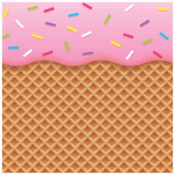 strawberry ice cream and wafer background - ice cream stock illustrations