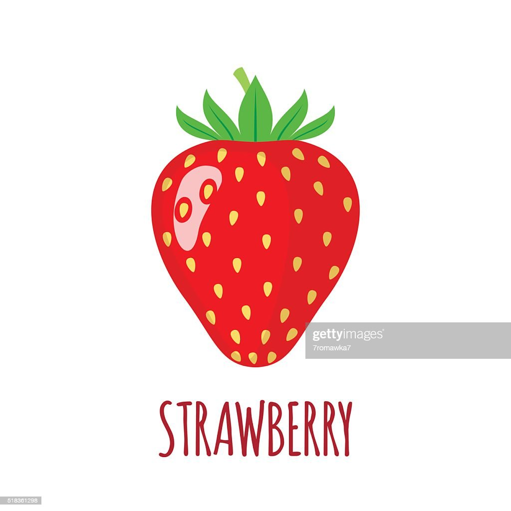 Strawberry icon in flat style on white background